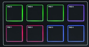 The MPK 225 new pads light up red, green and blue