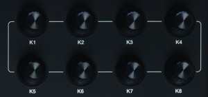 The 8 assignable knobs of the Akai MPK 225