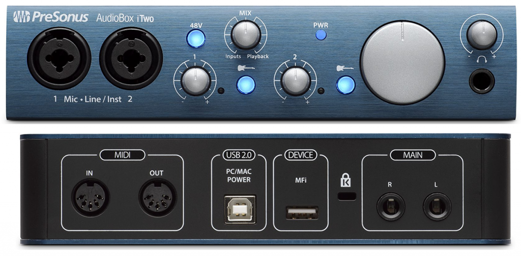 Front and back views of the AudioBox iTwo interface
