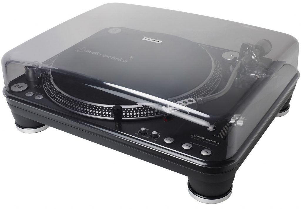 The AT-LP1240-USB-XP Turntable with it's cover