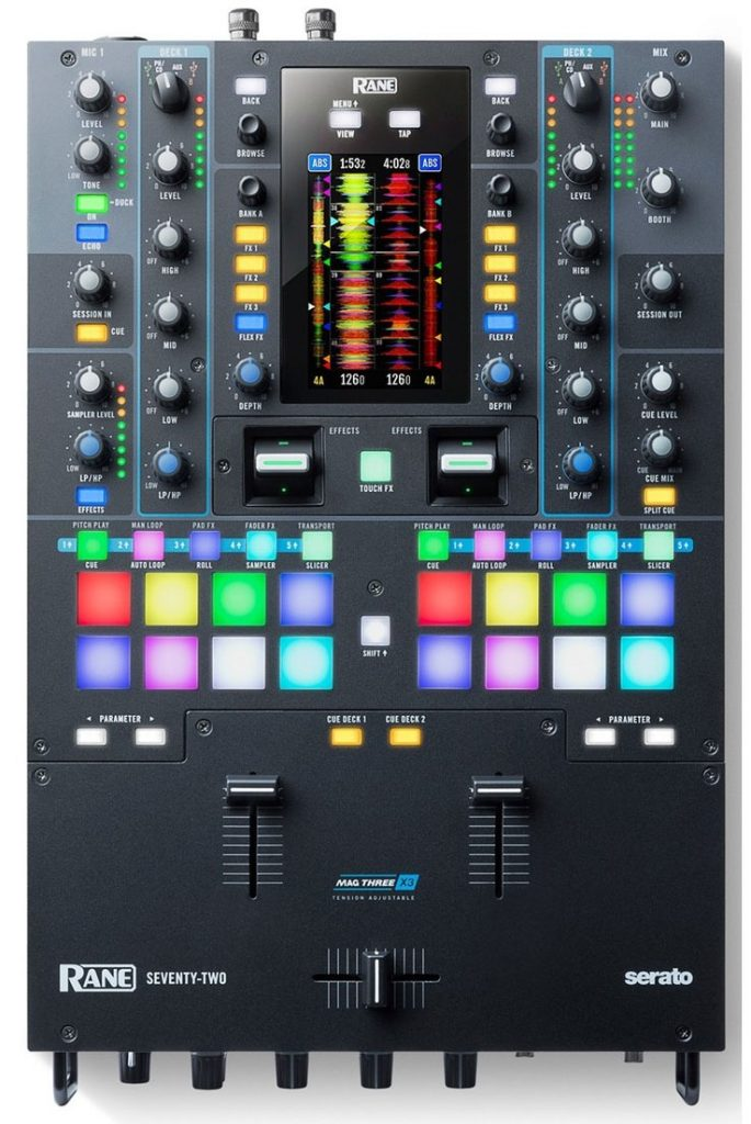 The front view of the Rane Seventy-Two DJ mixer