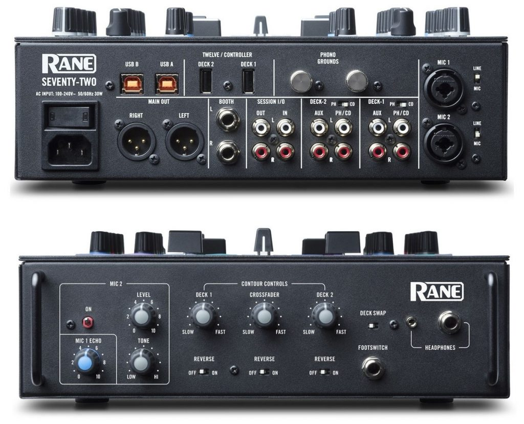 The side views of the Rane Seventy-Two DJ mixer