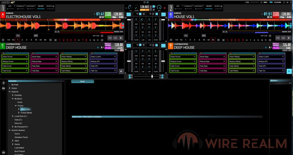 A screen shot of DJUCED DJ Software