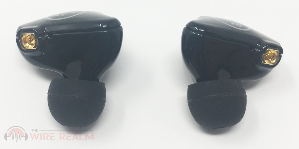 The in-ear monitors detached from the connectors