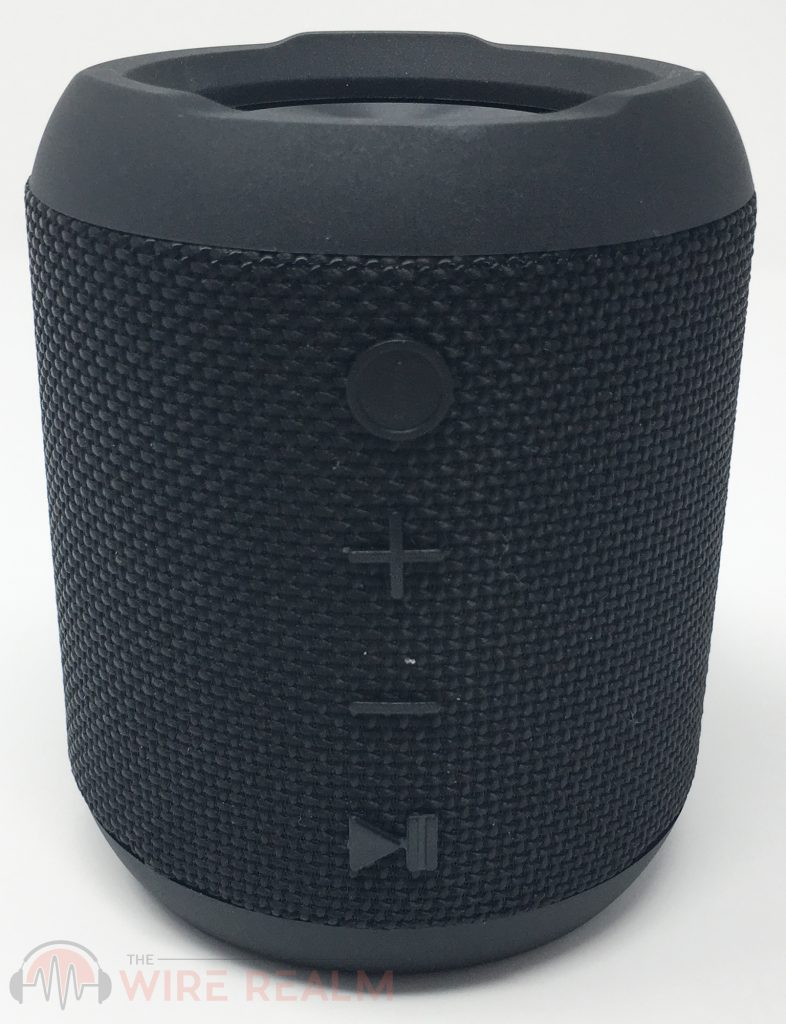 The front controls of the Sbode Bluetooth speaker