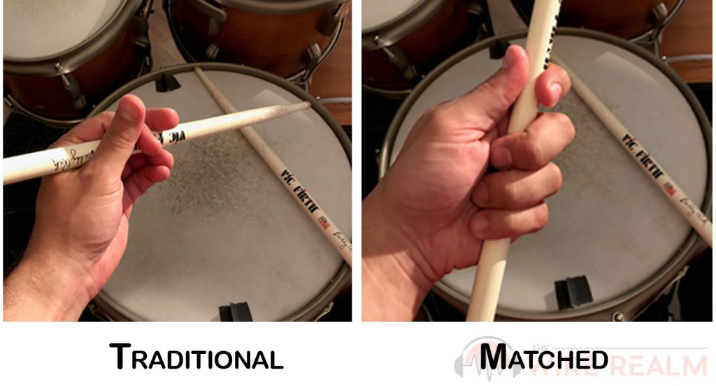 Here's a visual on the different drumming stick grips when learning how to play